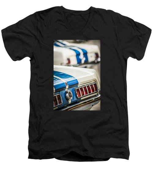 Men's V-Neck T-Shirt featuring the photograph 1965 Ford Shelby Mustang Gt 350 Taillight -1037c by Jill Reger