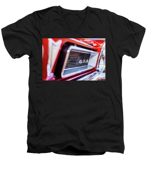 Men's V-Neck T-Shirt featuring the photograph 1965 Red Gto Grill by Aloha Art