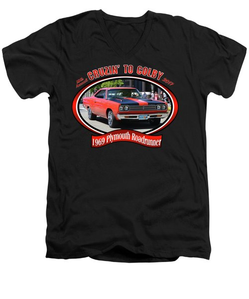 1969 Plymouth Roadrunner Masanda Men's V-Neck T-Shirt by Mobile Event Photo Car Show Photography