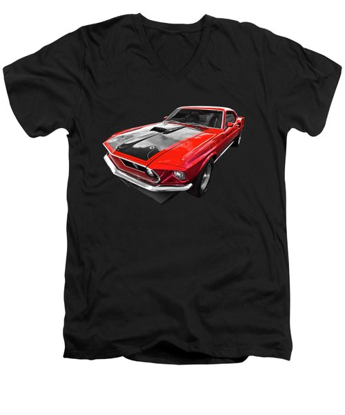 1969 Red 428 Mach 1 Cobra Jet Mustang Men's V-Neck T-Shirt