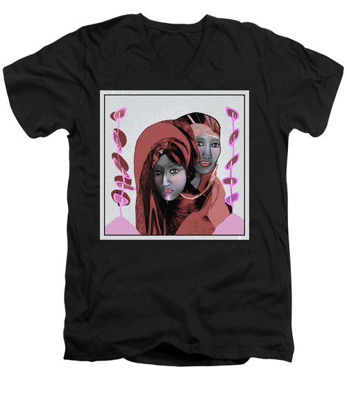 Men's V-Neck T-Shirt featuring the digital art 1971- Rosecoloured Portrait 2017 by Irmgard Schoendorf Welch