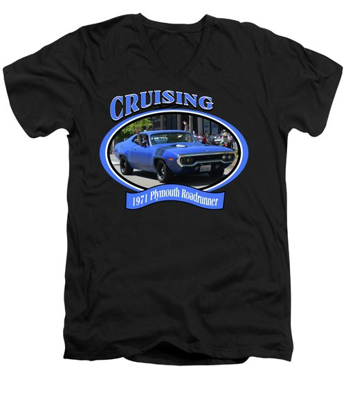 1971 Plymouth Roadrunner Hedman Men's V-Neck T-Shirt by Mobile Event Photo Car Show Photography