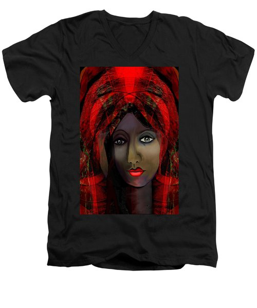 Men's V-Neck T-Shirt featuring the digital art 1980 -  Leading Into Temptation 2017 by Irmgard Schoendorf Welch