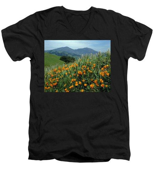 1a6493 Mt. Diablo And Poppies Men's V-Neck T-Shirt