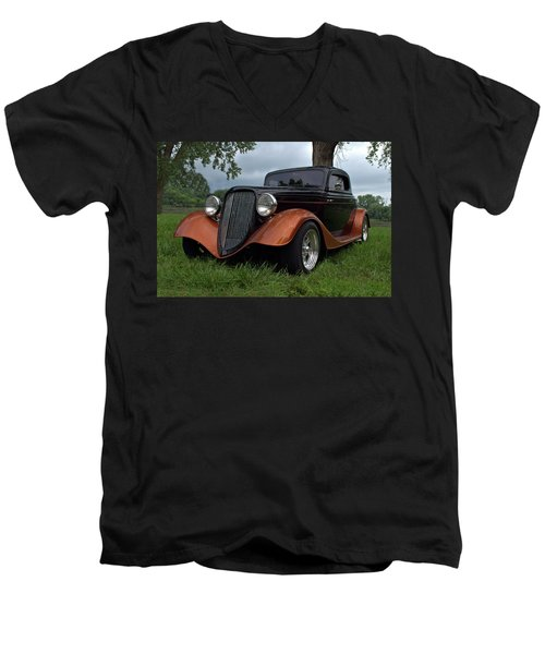 Men's V-Neck T-Shirt featuring the photograph 1934 Ford Hot Rod Coupe by Tim McCullough