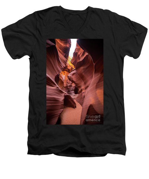 Antelope Canyon Men's V-Neck T-Shirt by JR Photography