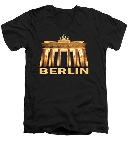 Brandenburg Gate Men's V-Neck T-Shirt by Julie Woodhouse