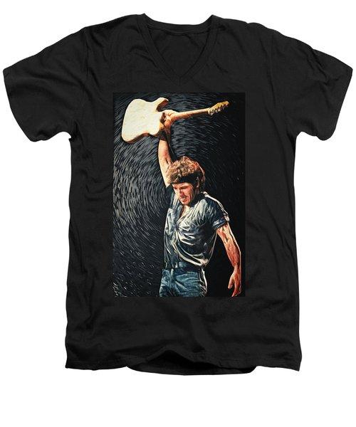 Bruce Springsteen Men's V-Neck T-Shirt by Taylan Apukovska