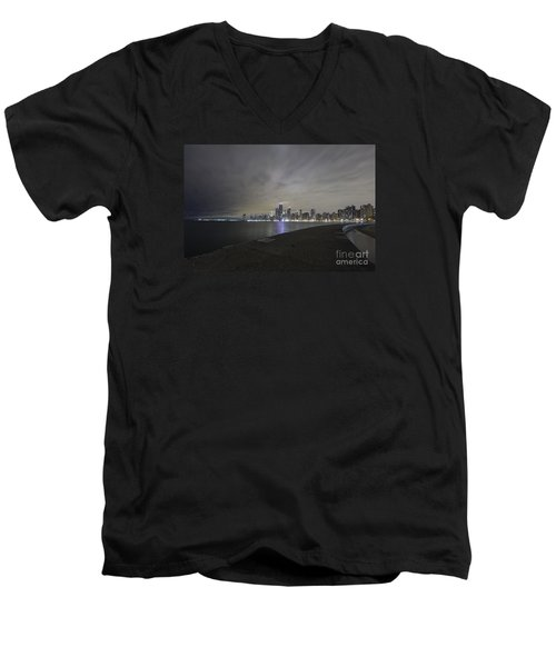 Men's V-Neck T-Shirt featuring the photograph Chicago Skyline At Night by Keith Kapple