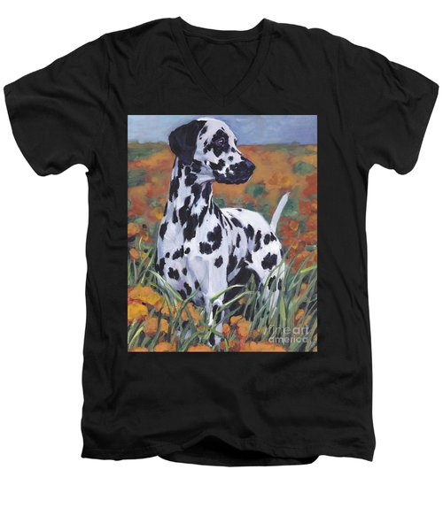 Men's V-Neck T-Shirt featuring the painting Dalmatian by Lee Ann Shepard