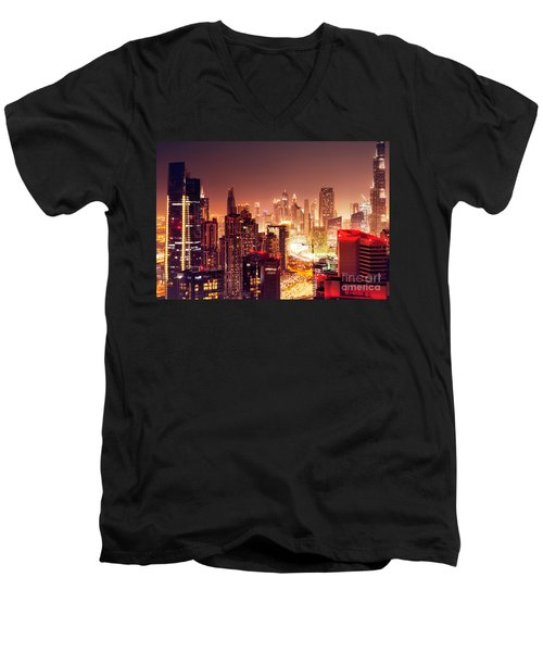 Dubai City At Night Men's V-Neck T-Shirt
