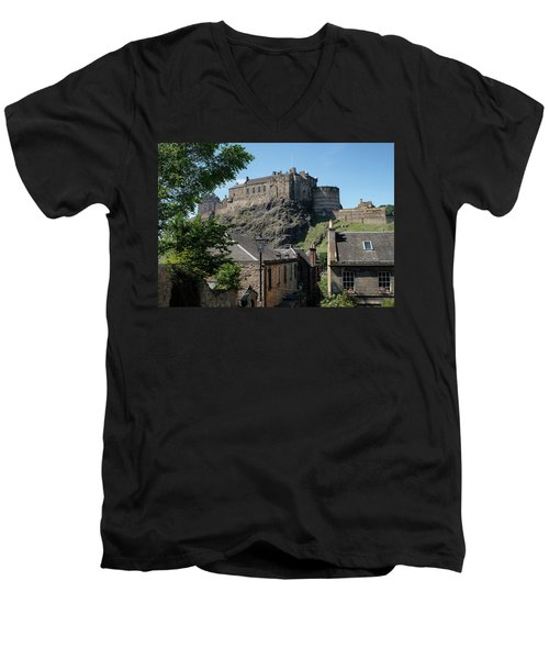 Men's V-Neck T-Shirt featuring the photograph Edinburgh Castle In Scotland by Jeremy Lavender Photography