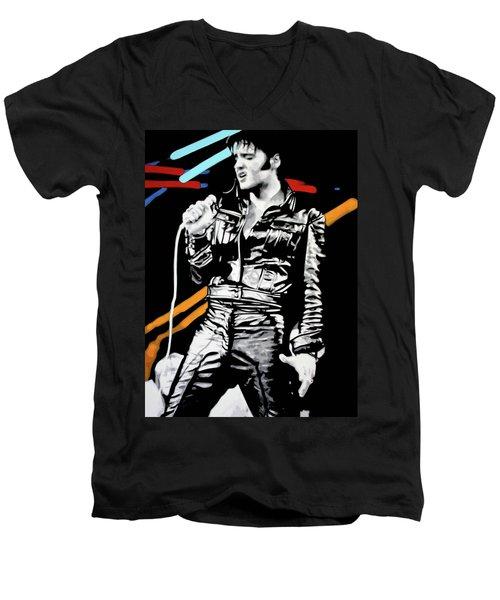 Elvis Men's V-Neck T-Shirt by Luis Ludzska