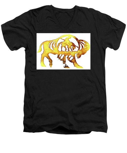 End Of The Trail Men's V-Neck T-Shirt by Larry Campbell