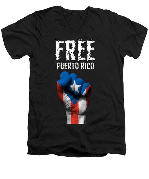 Free Puerto Rico Men's V-Neck T-Shirt