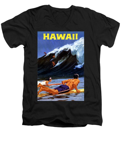 Hawaii Vintage Travel Poster Restored Men's V-Neck T-Shirt