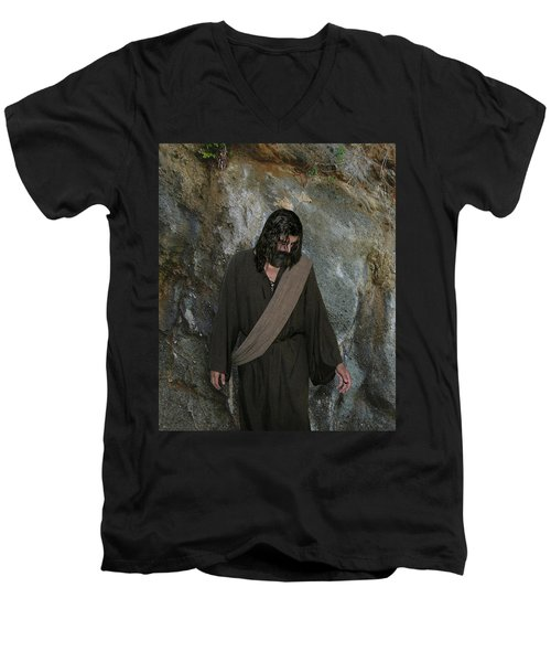 Jesus Christ- Rise And Walk With Me  Men's V-Neck T-Shirt