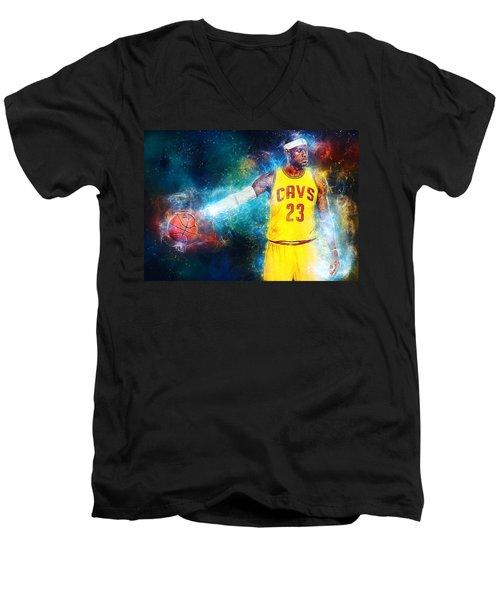 Lebron James Men's V-Neck T-Shirt by Taylan Apukovska