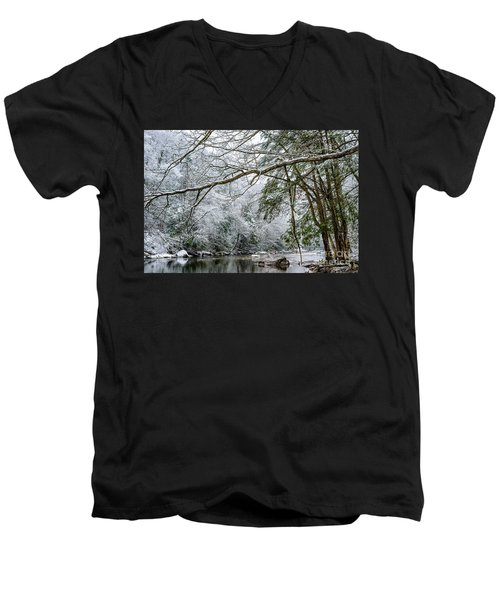 Men's V-Neck T-Shirt featuring the photograph March Snow Along Cranberry River by Thomas R Fletcher