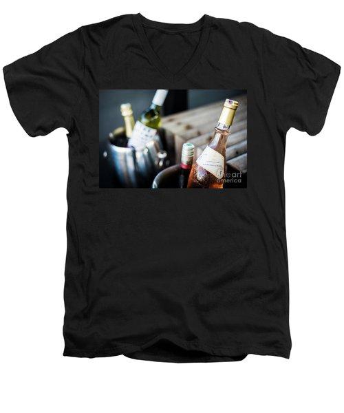 Mixed Bottles Of Gourmet Wine In Ice Chiller Bucket Men's V-Neck T-Shirt