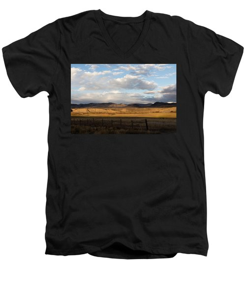 Men's V-Neck T-Shirt featuring the photograph Mountain Meadow And Hay Bales In Grand County by Carol M Highsmith
