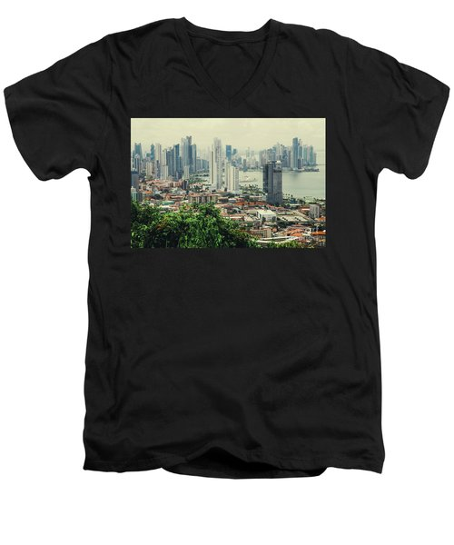Panama City Men's V-Neck T-Shirt by Iris Greenwell