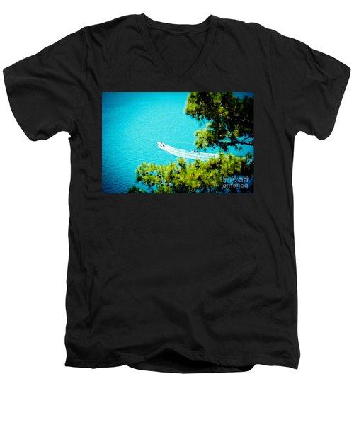 Pine Forest Over Sea Seascape Artmif.lv Men's V-Neck T-Shirt