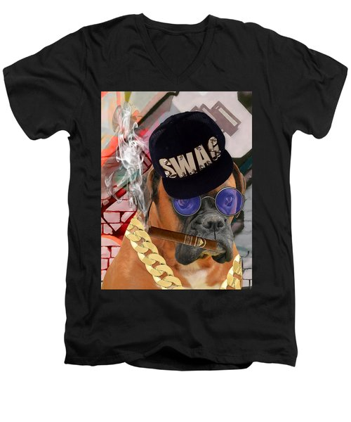 Men's V-Neck T-Shirt featuring the mixed media Power by Marvin Blaine