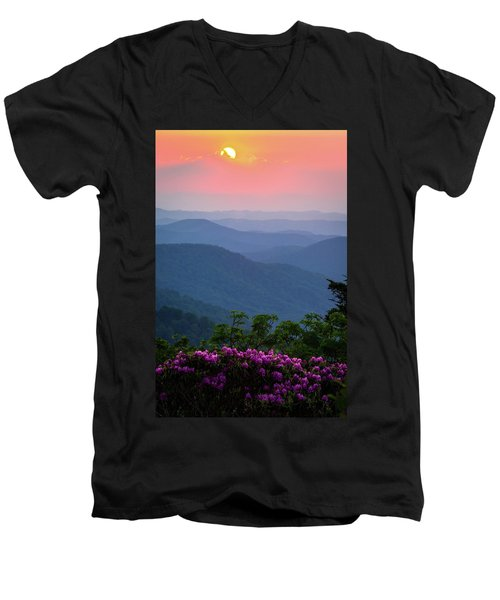 Roan Mountain Sunset Men's V-Neck T-Shirt by Serge Skiba