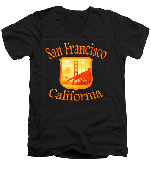 San Francisco California Golden Gate Design Men's V-Neck T-Shirt