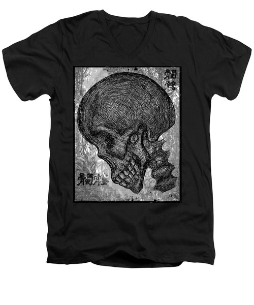 Gothic Skull Men's V-Neck T-Shirt by Akiko Okabe