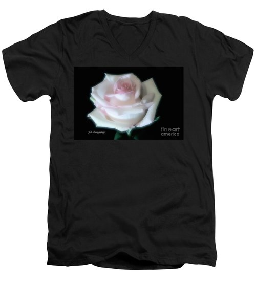 Soft Pink Rose Bud Men's V-Neck T-Shirt by Jeannie Rhode