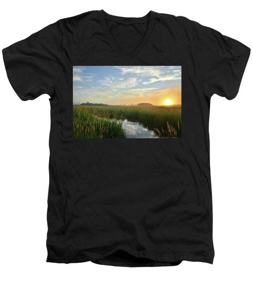 Sunrise At Glacial Park Men's V-Neck T-Shirt