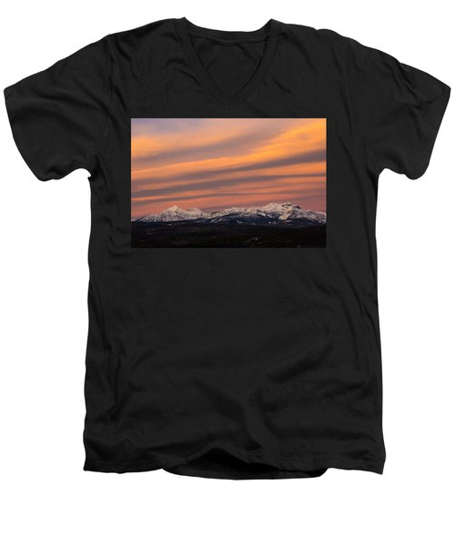 Sunset In Glacier National Park Men's V-Neck T-Shirt