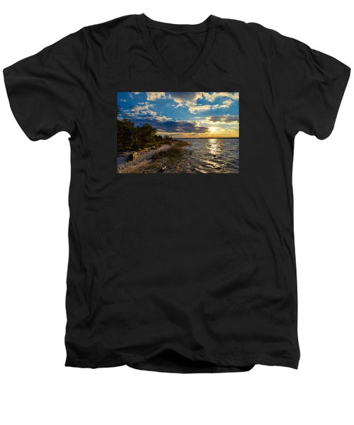 Sunset On The Cape Fear River Men's V-Neck T-Shirt