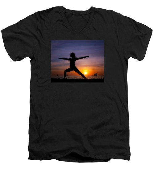 Sunset Yoga Men's V-Neck T-Shirt by Scott Meyer