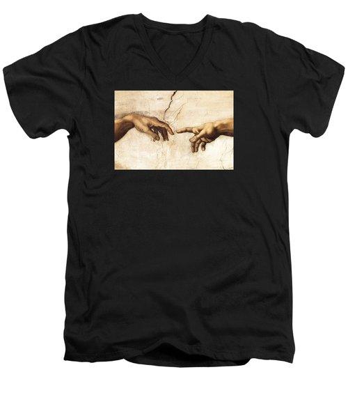 The Creation Of Adam Men's V-Neck T-Shirt by Michelangelo