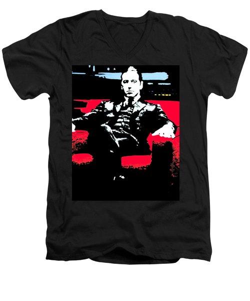 The Godfather Men's V-Neck T-Shirt by Luis Ludzska
