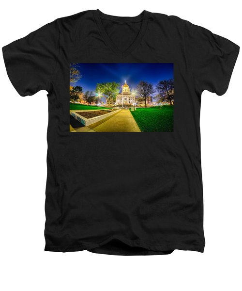 Topeka Kansas Downtown At Night Men's V-Neck T-Shirt