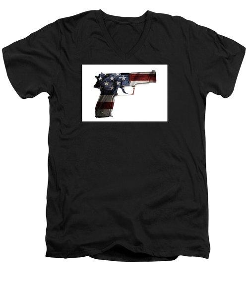 Usa Gun  Men's V-Neck T-Shirt