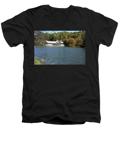 View Of Peaks Of Otter Lodge And Abbott Lake  In Autumn Men's V-Neck T-Shirt