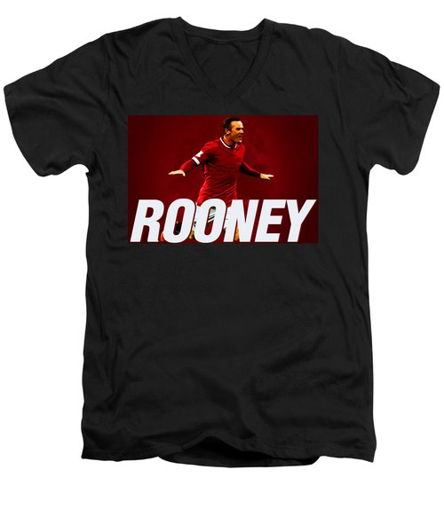 Wayne Rooney Men's V-Neck T-Shirt by Semih Yurdabak