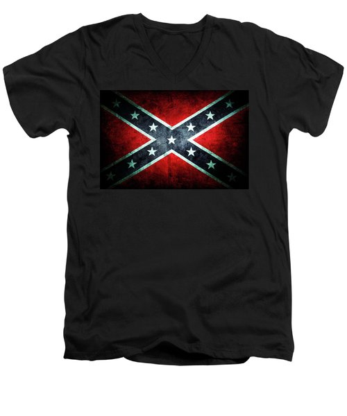 Men's V-Neck T-Shirt featuring the photograph Confederate Flag by Les Cunliffe