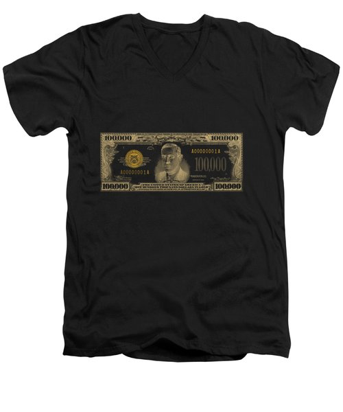 Men's V-Neck T-Shirt featuring the digital art U.s. One Hundred Thousand Dollar Bill - 1934 $100000 Usd Treasury Note In Gold On Black  by Serge Averbukh