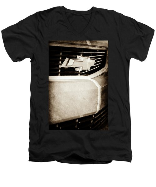 Men's V-Neck T-Shirt featuring the photograph 2011 Chevrolet Camaro Grille Emblem -0321s by Jill Reger