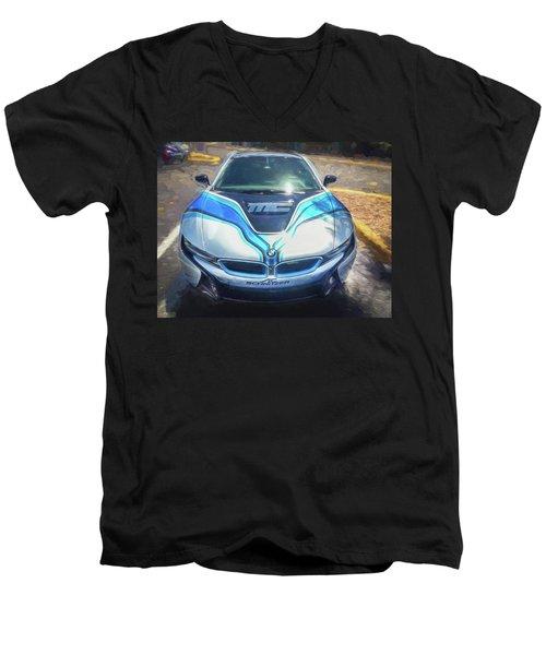 2015 Bmw I8 Hybrid Sports Car Men's V-Neck T-Shirt by Rich Franco