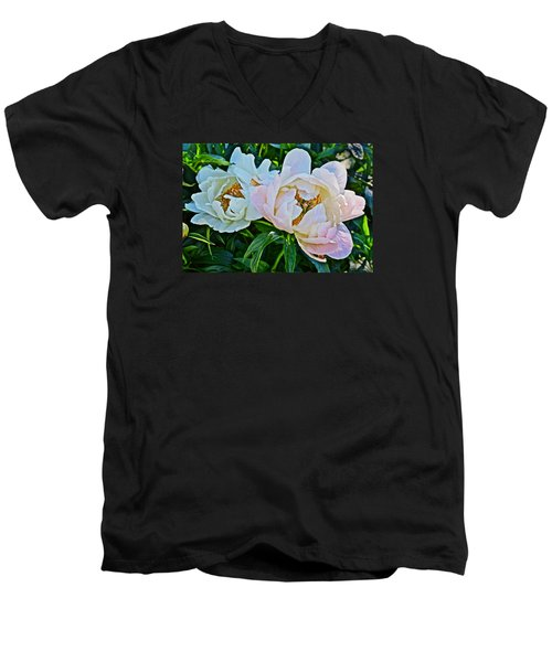 2015 Summer's Eve At The Garden White Peony Duo Men's V-Neck T-Shirt