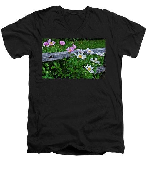 2015 Summer's Eve Neighborhood Garden Front Yard Peonies 2 Men's V-Neck T-Shirt