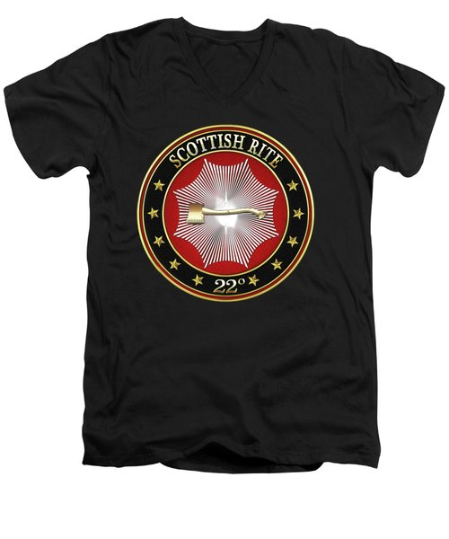 22nd Degree - Knight Of The Royal Axe Jewel On Black Leather Men's V-Neck T-Shirt by Serge Averbukh