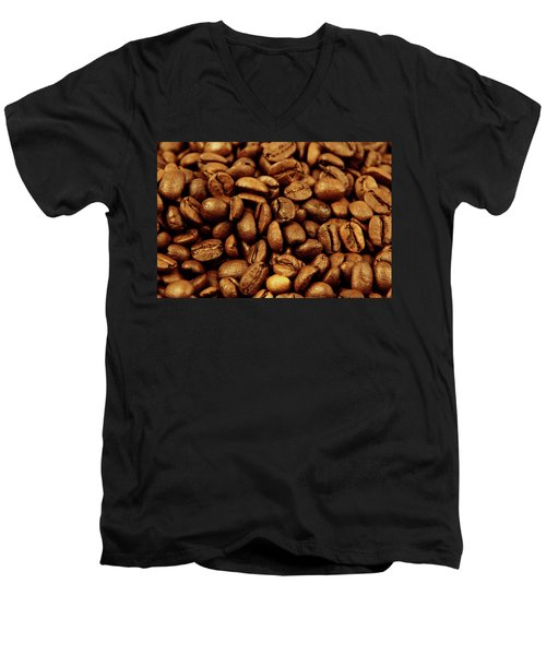 Men's V-Neck T-Shirt featuring the photograph Coffee Beans by Les Cunliffe